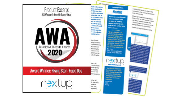 Nextup Wins AWA for Fixed Ops